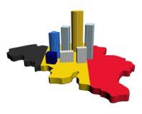 Skyscrapers on Belgium map flag Stock Photo