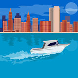Skyscrapers and boat Stock Photography