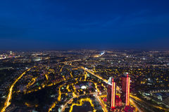 Skyscrapers, Bosphorus and bridge at night, Istanbul Stock Photo