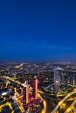 Skyscrapers, Bosphorus and bridge at night, Istanbul Stock Image
