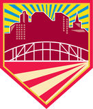 Skyscrapers and Bridge Retro Crest Stock Image