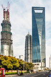 Skyscrapers building towers pudong skyline shanghai china Stock Photography