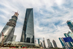 Skyscrapers building towers pudong skyline shanghai china Stock Image