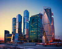 Skyscrapers Buildings of Moscow City business complex at dusk, M Stock Photo
