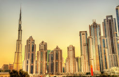 Skyscrapers in Business Bay district of Dubai Royalty Free Stock Photos