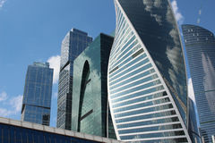 Skyscrapers of business center Moscow City and Bagration Bridge Stock Image