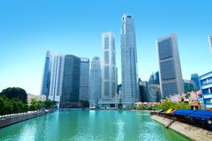 Skyscrapers in business district of Singapore Stock Photos