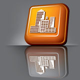 Skyscrapers button Stock Photography
