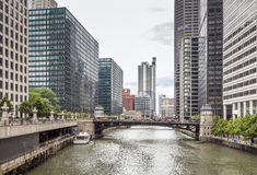 Skyscrapers by the Canal in Chicago Royalty Free Stock Images
