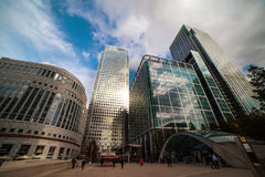 Skyscrapers in Canary Wharf, London Docklands. Clouds over skyscrapers in London Docklands financial district, United Kingdom Stock Photography