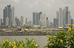 Skyscrapers with causeway construction. In Panama City, Panama Stock Photos