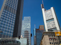 Skyscrapers in the center of the financial district of Frankfurt, Royalty Free Stock Photos