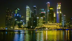 Skyscrapers of central area on the bay. Zoom shot stock footage