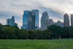 Skyscrapers seen from turf level from Central Park - colour, zoomed in somewhat stock image