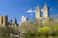Skyscrapers in central park Stock Photography