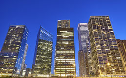 Skyscrapers in Chicago city business district at dusk. Royalty Free Stock Image