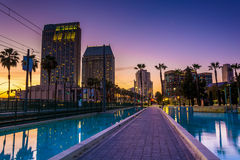 Skyscrapers and the Children's Pond at sunset, in San Diego, Cal Royalty Free Stock Photo