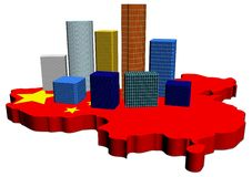 Skyscrapers on China map flag Stock Photo