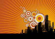 Skyscrapers with circles. Vector Royalty Free Stock Photography