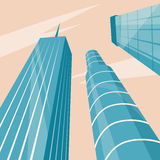Skyscrapers in the city. Bottom view. Cartoon vector illustration vector illustration