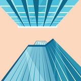 Skyscrapers in the city. Bottom view. Cartoon vector illustration royalty free illustration