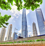 Skyscrapers, city building of Pudong, Shanghai, China. Royalty Free Stock Photos
