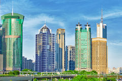 Skyscrapers, city building of Pudong, Shanghai, China. Stock Images