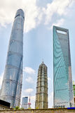 Skyscrapers, city building of Pudong, Shanghai, China. Royalty Free Stock Photography