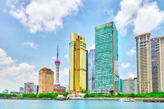 Skyscrapers, city building of Pudong, Shanghai, China. Stock Photo
