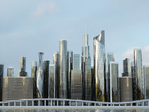 Skyscrapers city business center. 3d illustration Stock Photos