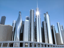 Skyscrapers city business center. 3d illustration Royalty Free Stock Photography
