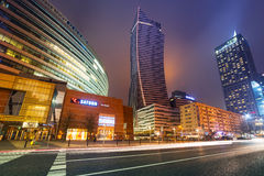 Skyscrapers in the city center of Warsaw at night Royalty Free Stock Photo