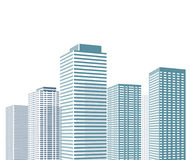 Skyscrapers in the city. Illustration of skyscrapers (or high rise buildings) in the city each in similar architectural design (style), white background Stock Image