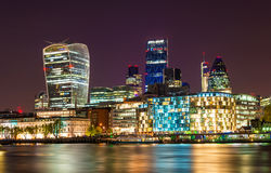 Skyscrapers of the City of London at night Royalty Free Stock Photography
