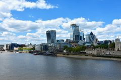Skyscrapers of the City of London over the Thames , England stock photography