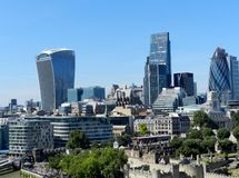 London, United Kingdom. The City from Tower Bridge. Skyscrapers with blue sky. stock image