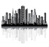 Skyscrapers in the City on the River. Royalty Free Stock Photography