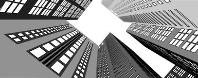 Skyscrapers in the city view from below Royalty Free Stock Images