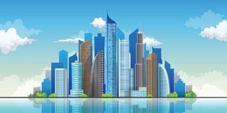Skyscrapers in cityscape background.Downtown landscape vector illustration. Skyscrapers in downtown landscape with modern architecture. Skyline city background royalty free illustration