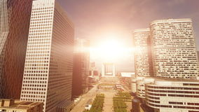 Skyscrapers cityscape panorama at sunset sky. Aerial view of modern business buildings district stock footage