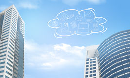 Skyscrapers and cloud with business sketches Stock Photo