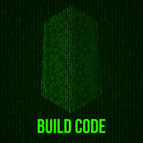 Skyscrapers code. Binary digital form of futuristic city building Royalty Free Stock Photos