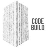 Skyscrapers code. Binary digital form of futuristic city building Royalty Free Stock Photo