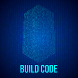 Skyscrapers code. Binary digital form of futuristic city building. Vector llustration of matrix abstract 3d tech background. Web developer coding concept Royalty Free Stock Photography