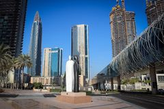 Skyscrapers of downtown and plaza, Dubai, UAE. Skyscrapers of downtown and plaza, modern architecture of Dubai, UAE royalty free stock image