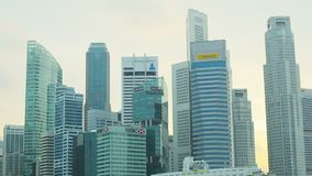 Skyscrapers in downtown of Singapore. Offices of large corporations stock video footage