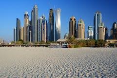 Skyscrapers of Dubai Marina from Marina beach Stock Photography