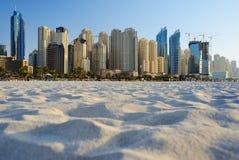 Skyscrapers of Dubai Marina from Marina beach Royalty Free Stock Image