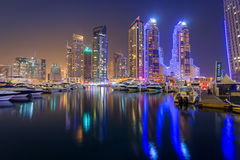 Skyscrapers of Dubai Marina at night, UAE Royalty Free Stock Images