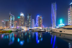 Skyscrapers of Dubai Marina at night, UAE Stock Images